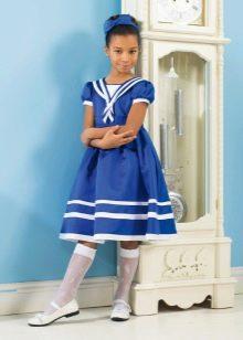 Летнее синее платье для девочки
