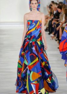 Модное цветное платье-бандо сезона весна-лето 2016 года