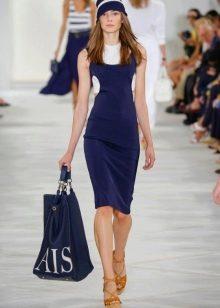 Модное сине-белое платье сезона весна-лето 2016 года