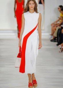 Модное бело-красное платье сезона весна-лето 2016 года