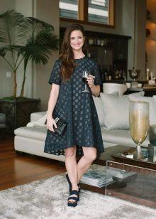 Модное повседневное трапециевидное платье 2016 года
