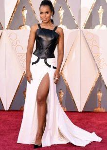 Модное платье 2016 года комбинированное с кожей