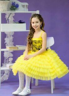 Нарядное платье для девочки желтое пышное