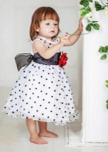 Нарядное платье для девочки белое в черный горох