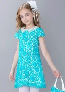 Нарядное платье для девочки 10-12 лет прямое кружевное