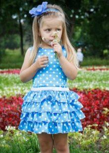 Нарядное платье для девочки короткое в горох