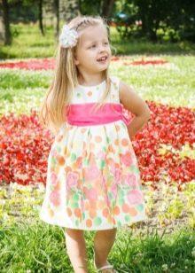 Нарядное платье для девочки в цветочек