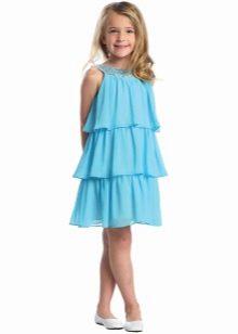 Нарядное летнее платье для девочки с воланами