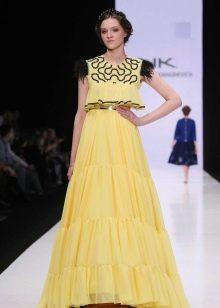 Нарядное платье для девочки длинное желтое