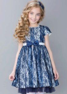 Нарядное выпускное платье для девочки кружевное