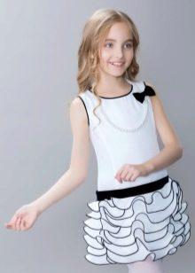 Нарядное платье для девочки белое с черным
