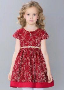 Нарядное платье для девочки красное кружевное