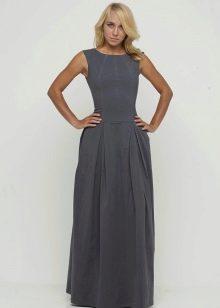 серое платье из футера в пол