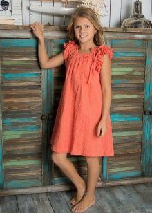Летнее свободное платье для девочки 11 лет