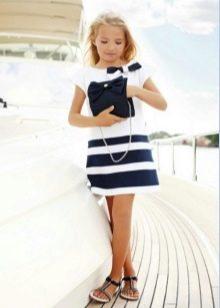 Платье в морском стиле для девочки 11 лет