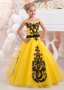 Пышное желтое платье для девочки 11 лет
