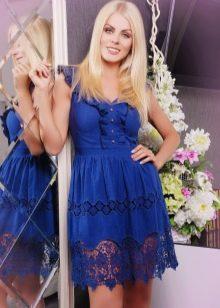платье из синего батиста