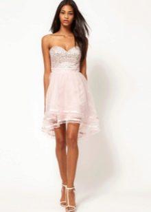 розовое коктейльное платье из органзы