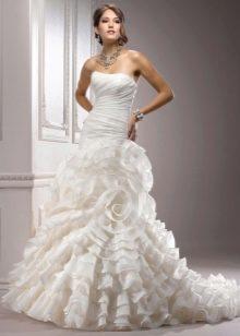 свадебное платье из органзы с воланами