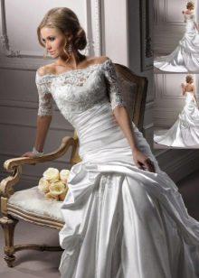 свадебное платье из органзы с кружевным лифом