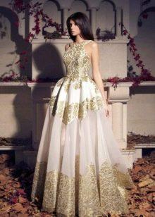 бело-золотое платье из органзы