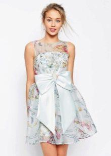 платье из органзы с бантом