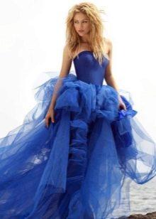 платье из органзы с драпированной юбкой