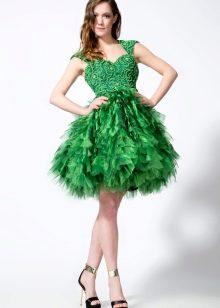 зеленое платье из органзы