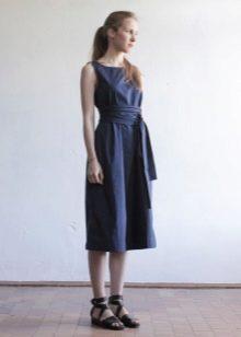 темно-синее поплиновое платье