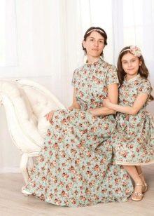 платья из поплина для мамы и дочки