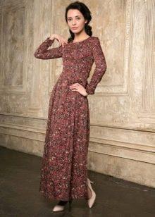 длинное поплиновое платье с мелким рисунком
