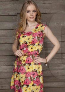 поплиновое платье в желто-краснрй гамме