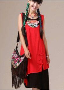 комбинированное платье из поплина