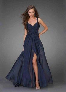 вечернее сатиновое платье с разрезом