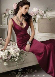 бордовое вечернее платье из сатина