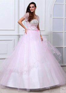 сатиновое свадебное платье розового цвета