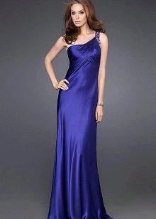 фиолетовое сатиновое платье на одно плечо