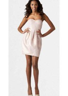короткое сатиновое платье-бюстье