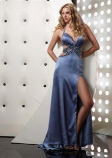 Синее сатиновое платье