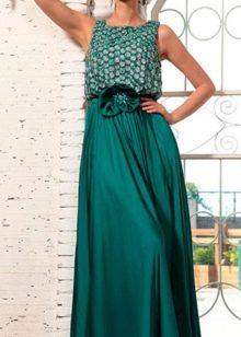 длинное платье из сатина с чешуйчаитым лифом