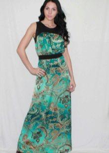 длинное платье из сатина с золотистым узором