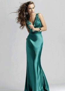 длинное платье из сатина цвета морской волны