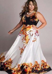 летнее сатиновой платье для полных