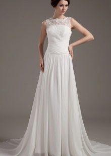 Белое длинное платье из сатина