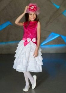 Красно-белое платье на выпускной 4 класс