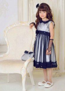 Синее с воротником платье на выпускной 4 класс
