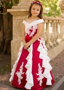 Красное длинное платье на выпускной 4 класс