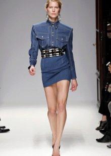 Аксессуары к короткому джинсовому платью-рубашке