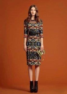 Платье миди прямое цветное
