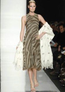 Платье миди с палантином